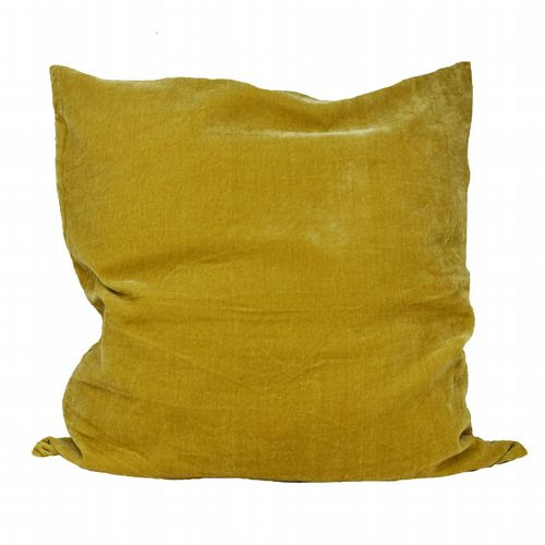 Silk Velvet & Linen Cushion - Dijon